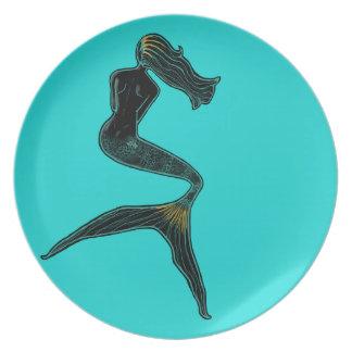 Mermaid of the Moon (Teal) Dinner Plates