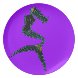 Mermaid of the Moon (Violet) Party Plate