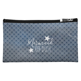 Mermaid Off Duty Dark Watercolor Cosmetic Bag