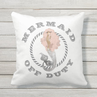 Mermaid Off Duty Girly Nautical Throw Pillow