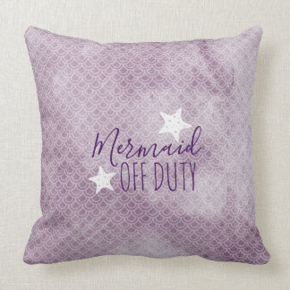 Mermaid Off Duty Purple Watercolor Throw Pillow