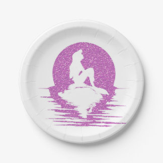 Mermaid on a rock - Pink Glitter 7 Inch Paper Plate