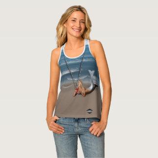 Mermaid on beach anchor chain fake necklace shirt