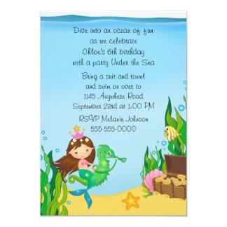 Mermaid on Green Seahorse Birthday Card