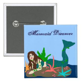 Mermaid on rock, Mermaid Dreamer button