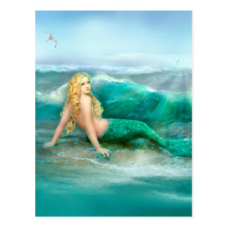 Mermaid on Shore with Aqua Waves and Seagulls Postcard
