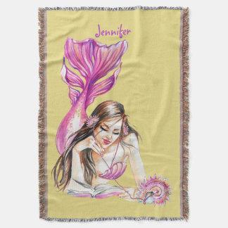 Mermaid On The Beach Throw Blanket