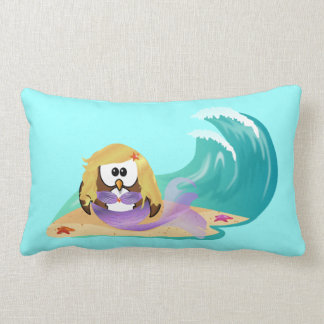 mermaid owl lumbar pillow