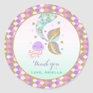 Mermaid Party Favor Tag Under The Sea Favor Tag Round Sticker
