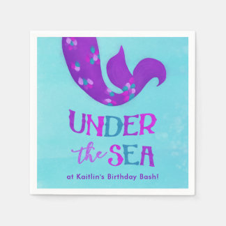 "Mermaid Party Napkins ""Under the Sea"" Disposable Napkins"