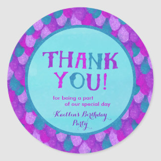 Mermaid Party Thank You Stickers | Purple & Teal