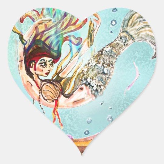 Mermaid Performs Heart Sticker