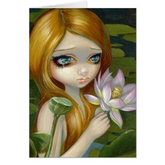 """Mermaid Picking Lotus Blossoms"" Greeting Card"