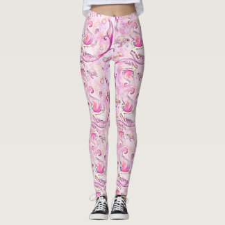 Mermaid pink lavender sea turtle ocean leggings