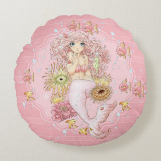 Mermaid (pink) round pillow