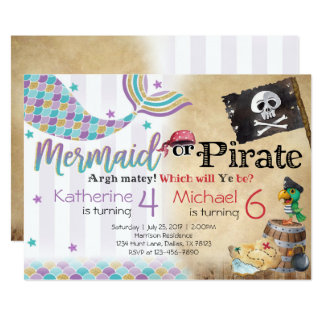 Mermaid Pirate Birthday Party Invitation Siblings