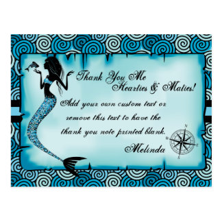 Mermaid, Pirate Thank You Cards Postcard