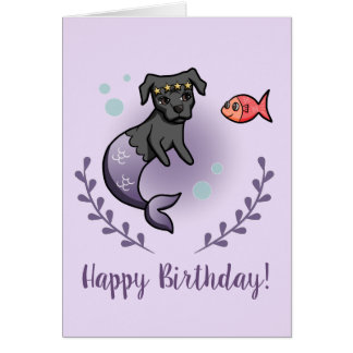 Mermaid Pit Bull 2 Birthday Card