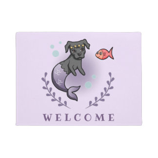 Mermaid Pit Bull 2 Welcome Doormat
