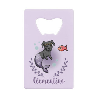 Mermaid Pit Bull 2 with Name Credit Card Bottle Opener