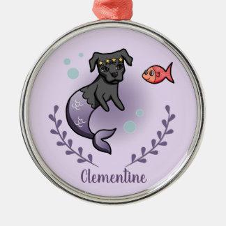 Mermaid Pit Bull 2 with Name Metal Ornament