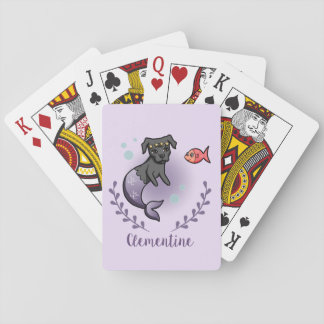 Mermaid Pit Bull 2 with Name Playing Cards