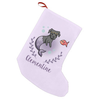 Mermaid Pit Bull 2 with Name Small Christmas Stocking
