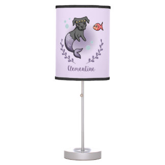 Mermaid Pit Bull 2 with Name Table Lamp