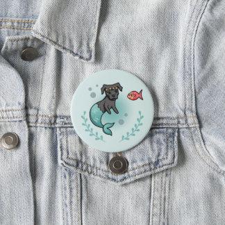 Mermaid Pit Bull 3 Inch Round Button