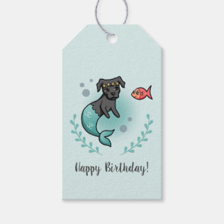 Mermaid Pit Bull Birthday Gift Tags