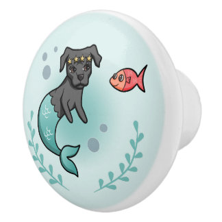 Mermaid Pit Bull Ceramic Knob