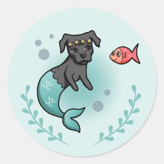 Mermaid Pit Bull Classic Round Sticker