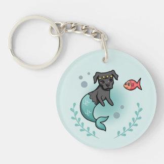 Mermaid Pit Bull Keychain