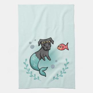 Mermaid Pit Bull Kitchen Towel