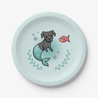 Mermaid Pit Bull Paper Plate