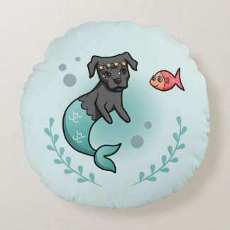 Mermaid Pit Bull Round Pillow