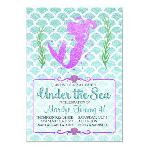 Mermaid Pool Party Invitations Announcements Zazzle CA