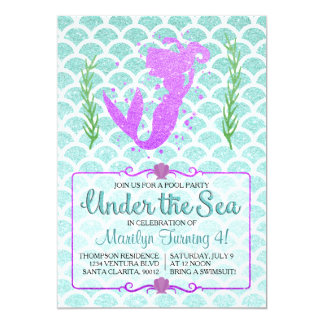 Mermaid Pool Party Birthday Invitation