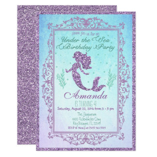 Mermaid Pool Party Birthday Invitation 5 x 7