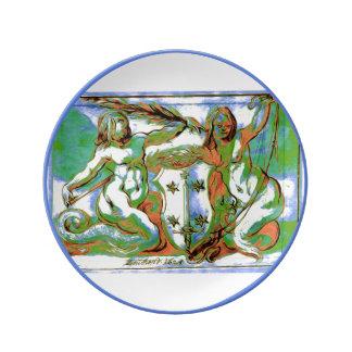 Mermaid Porcelain Plate Coat of Arms