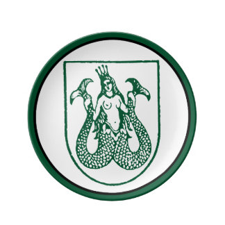 Mermaid Porcelain Plate in a Crest