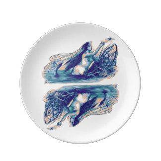 Mermaid Porcelain Plate Mirrored