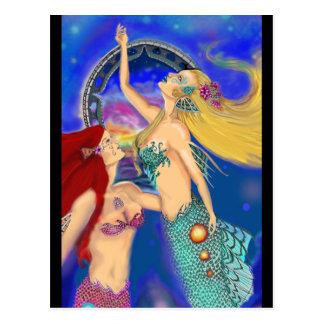 Mermaid Portal Digital Sunset Postcard