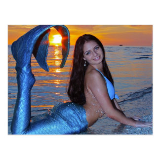 Mermaid posing on the Beach at Sunset Postcard