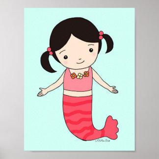 Mermaid Poster Mermaid Baby Girl Nursery Print