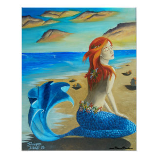 Mermaid Poster Siren Poster Beach Mermaid