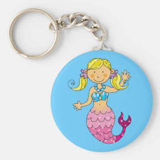 mermaid princess basic round button keychain