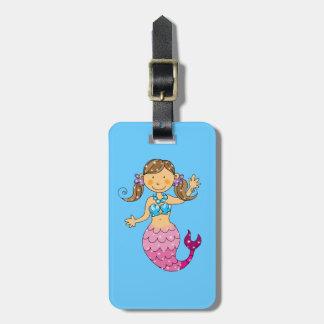 mermaid princess (brown hair) luggage tag