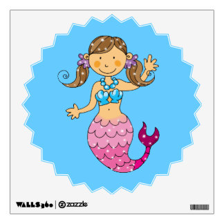 mermaid princess (brown hair) wall decal