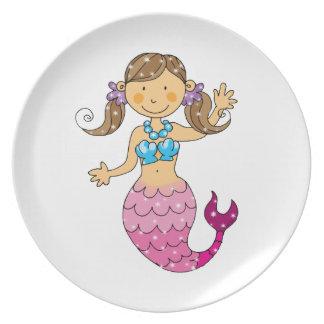 mermaid princess dinner plate